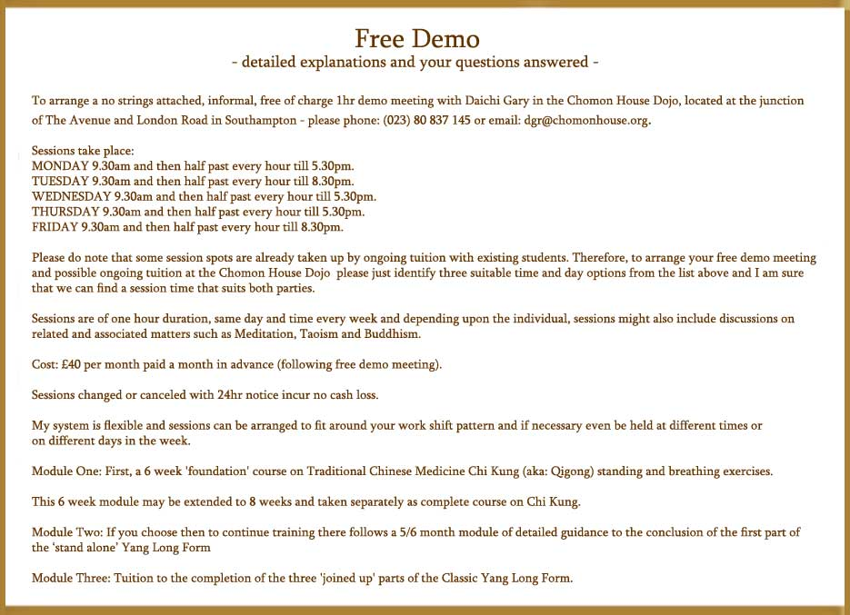 Free Tai Chi Demo and tuition details